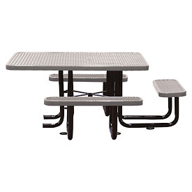 "58"" Picnic Table (ADA) Gray Expanded Metal Surface Mount Style"