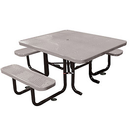 "58"" Picnic Table (ADA) Gray Perforated Metal Surface Mount Style"