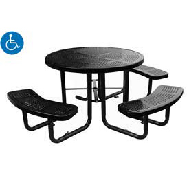 "46"" Round Picnic Table (Ada) Black Perforated Metal Surface Mount Style"