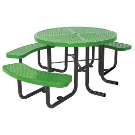 "46"" Round Picnic Table (Ada) Green Perforated Metal Surface Mount Style"