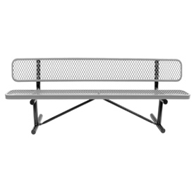 "72"" Bench With Backrest Gray Expanded Metal Surface Mount Style"