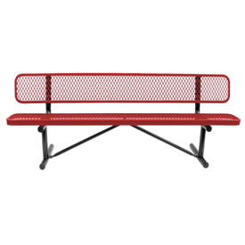 "96"" Bench With Backrest Red Expanded Metal Surface Mount Style"