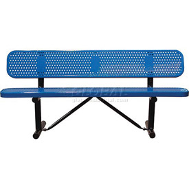 "72"" Bench With Backrest Blue Perforated Metal Surface Mount Style"