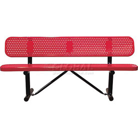 "96"" Bench With Backrest Red Perforated Metal Surface Mount Style"