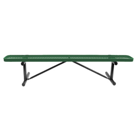 "96"" Bench Green Perforated Metal Surface Mount Style"