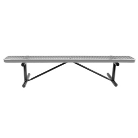 """96"""" Bench Gray Perforated Metal Surface Mount Style"""