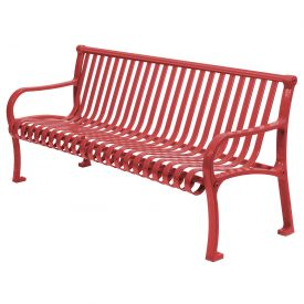 "48"" Bench Straight Top Ribbed Style - Red"