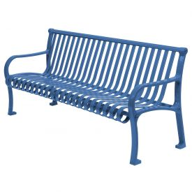 "96"" Bench Straight Top Ribbed Style Blue"
