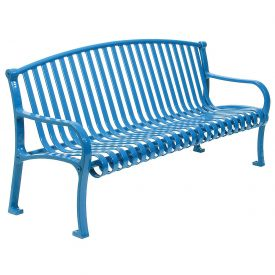 "48"" Bench Curved Top Ribbed Style - Blue"