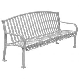 "72"" Bench Curved Top Ribbed Style - Gray"