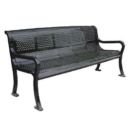 "72"" Perforated Roll Formed Bench - Black"
