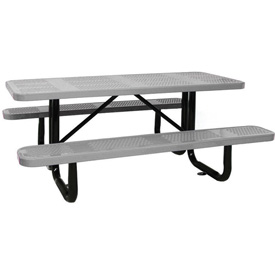 "96"" Rectangular Picnic Table Gray Perforated Metal Surface Mount Style"