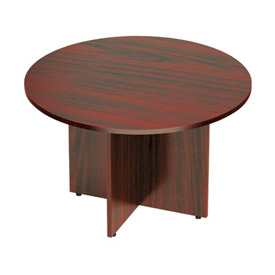 Offices To Go™ 48 Inch Round Conference Table in Mahogany - Executive Modular Furniture