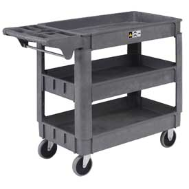"Small Deluxe 3 Shelf Plastic Utility & Service Cart 5"" Rubber Casters"
