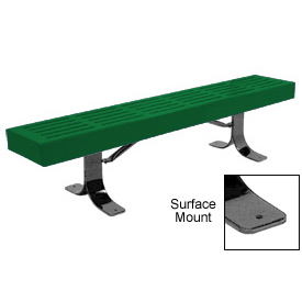 "48"" Slatted Flat Bench Surface Mount Style - Green"
