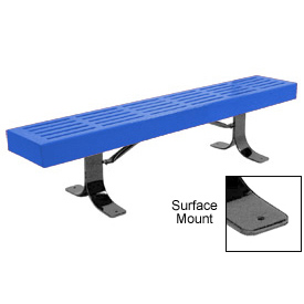 "72"" Slatted Flat Bench Surface Mount Style - Blue"