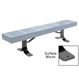 "96"" Slatted Flat Bench Surface Mount Style - Gray"
