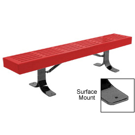 "96"" Slatted Flat Bench Surface Mount Style - Red"