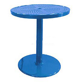 "Leisure Craft 36"" Perforated Outdoor Pedestal Table - Blue"