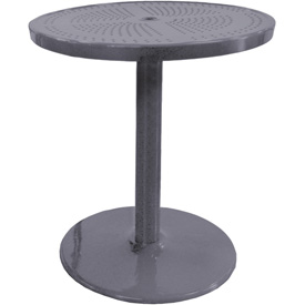 "Leisure Craft 36"" Perforated Outdoor Pedestal Table - Gray"