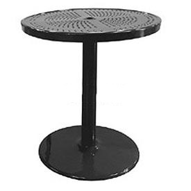 "Leisure Craft 36"" Perforated Outdoor Pedestal Bar Table - Black"