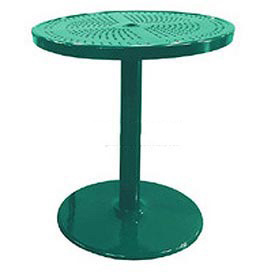 "Leisure Craft 36"" Perforated Outdoor Pedestal Bar Table - Green"