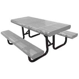 "96"" Radial Edge Surface Mount Picnic Table, Perforated Metal - Gray"