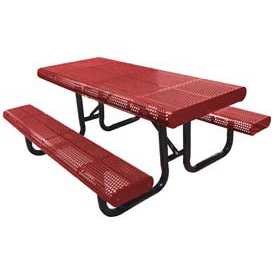 "96"" Radial Edge Surface Mount Picnic Table, Perforated Metal - Red"