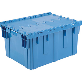 Plastic Shipping Container - Hinged Lid Storage DC2820-15 28-1/8 x 20-3/4 x 15-5/8 Blue