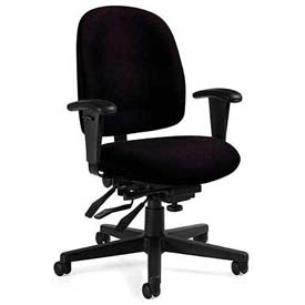 Global™ Granada Low Back Multi-Tilter Chair -  Black Fabric Upholstery