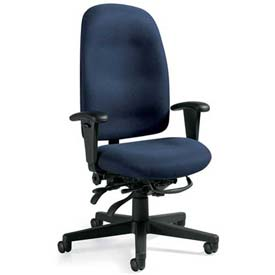 Global™ Granada High Back Multi-Tilter Chair - Blue Fabric Upholstery