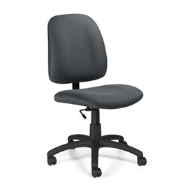 Global™ Armless Task Chair - Fabric - Low Back - Stone - Goal Series