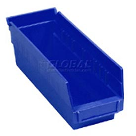 "Quantum Plastic Shelf Storage Bin - QSB201 Nestable 4-1/8""W x 11-5/8""D x 6""H Blue - Pkg Qty 36"