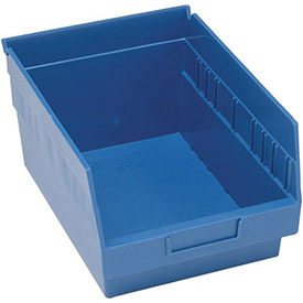 "Quantum Plastic Shelf Storage Bin - QSB207 Nestable 8-3/8""W x 11-5/8""D x 6""H Blue - Pkg Qty 20"