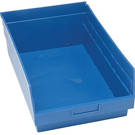 "Quantum Plastic Shelf Storage Bin - QSB210 Nestable 11-1/8""W x 17-7/8""D x 6""H Blue - Pkg Qty 8"