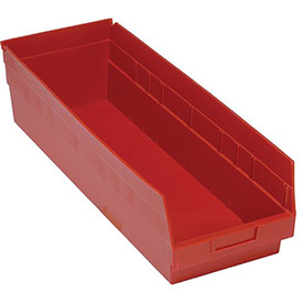 "Quantum Plastic Shelf Storage Bin - QSB214 Nestable 8-3/8""W x 23-5/8""D x 6""H Red - Pkg Qty 6"