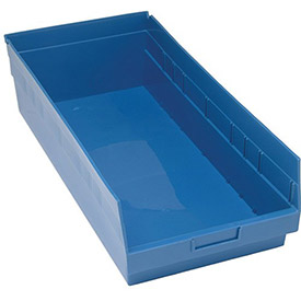 "Quantum Plastic Shelf Storage Bin - QSB216 Nestable 11-1/8""W x 23-5/8""D x 6""H Blue - Pkg Qty 6"