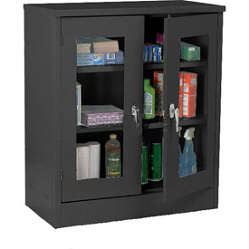 Sandusky Clear View Counter Height Storage Cabinet EA2V462442 - 46x24x42, Black