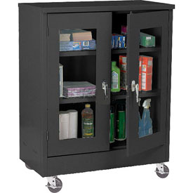 Sandusky Mobile Clear View Counter Height Storage Cabinet TA2V462442 -46x24x48, Black