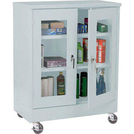 Sandusky Mobile Clear View Counter Height Storage Cabinet TA2V462442 -46x24x48, Light Gray