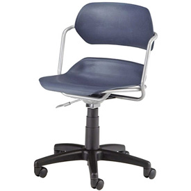 OFM Swivel Task Chair - Plastic - Mid Back - Blue Seat with Silver Frame