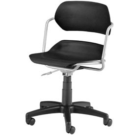 OFM Swivel Task Chair - Plastic - Mid Back - Black Seat with Silver Frame