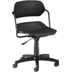 OFM Swivel Task Chair - Plastic - Mid Back - Black Seat with Black Frame