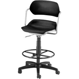 OFM Martisa Series Swivel Task Chair with Drafting Kit, Plastic, Mid Back, Black with Silver Frame