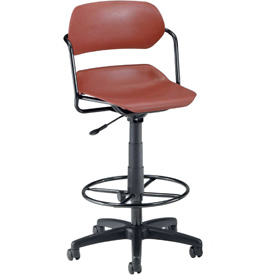 OFM Martisa Series Swivel Task Chair with Drafting Kit, Plastic, Mid Back, Wine with Black Frame