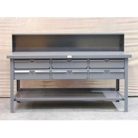 "Strong Hold 72""W x 36""D 6 Drawer Steel Top Workbench"