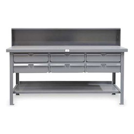 "Strong Hold 60""W x 36""D 6 Drawer with  Steel Top Workbench"