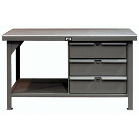 "Strong Hold 60""W x 36""D 3 Drawer with  Steel Top Workbench"