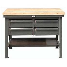 "Strong Hold 48""W x 30""D 4 Drawer with Steel Top Workbench"