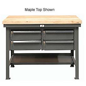 "Strong Hold 60""W x 36""D 4 Drawer with  Maple Top Workbench"